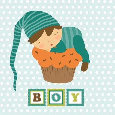 Baby boy card with adorable little boy sleeping. Vector illustration
