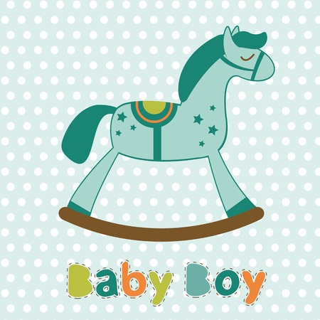 accessories horse: Baby boy card with rocking horse. Vector illustration Illustration