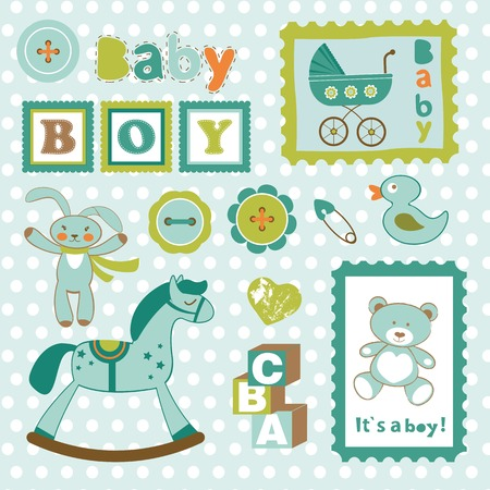 new baby: Baby boy card stamps cute collection. vector illustration