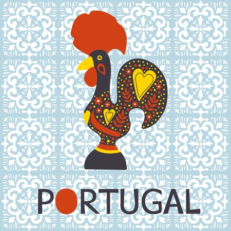 Illustration of  decorated Barcelos rooster symbol of Portugal. Vector illustration Ilustração