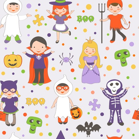 Cute colorful Halloween kids pattern. Vector illustration Vector