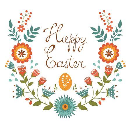 design design elemnt: Easter card with floral wreath. Colorful vector illustration
