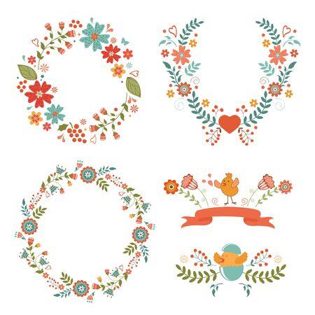 design design elemnt: Beautiful collection of floral Easter wreaths. Vector illustration