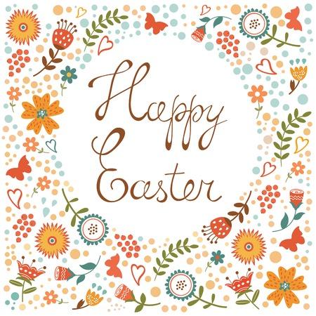 design design elemnt: Easter card with floral background. Colorful vector illustration