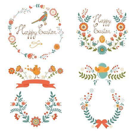 Colorful Easter related elements collection. Vector illustration Vector