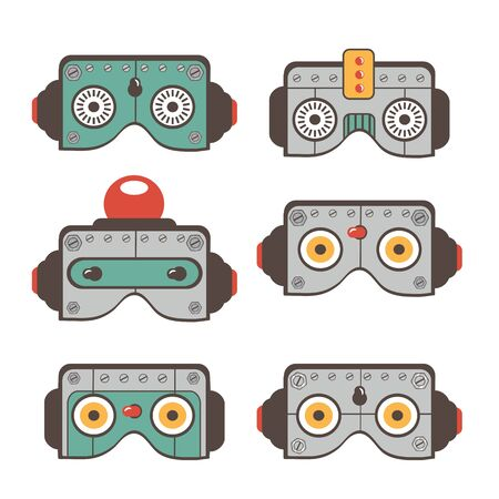 space robot: Robot masks  colorful collection. Cute vector illustration