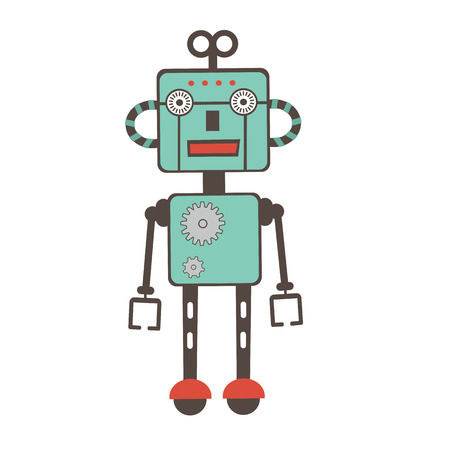 electrical part: Colorful  illustration of robot character in vector format Illustration