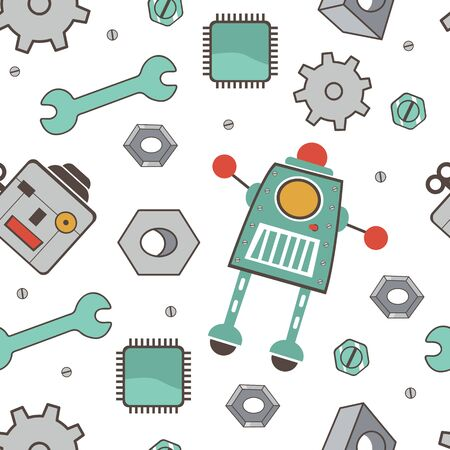 industrial decor: Seamless pattern with robots. Colorful vector illustration