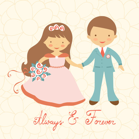 fidelity: Cute wedding couple in pastel colors. Vector illustration Illustration