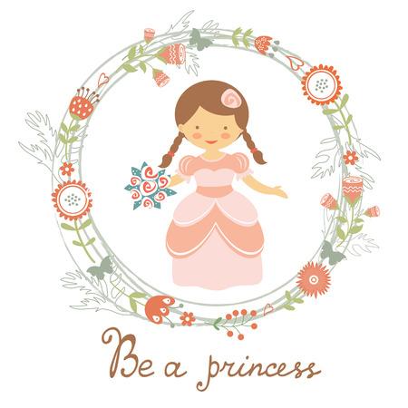 vestido medieval: Sea una tarjeta linda princesa con la princesa adorable en la corona de flores. Ilustración vectorial