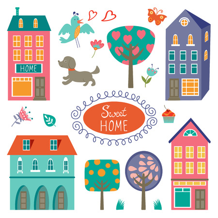 row houses: Home sweet home colorful set. Vector illustration Illustration