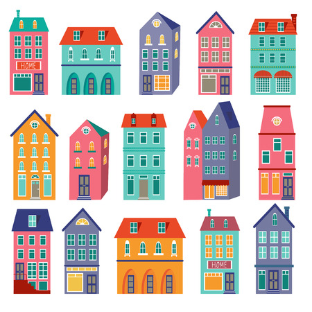 row houses: Colorful houses collection. Home sweet home set. vector illustration