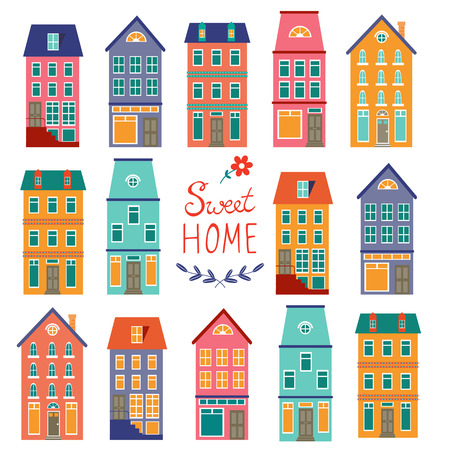 row of houses: Colorful houses collection. Home sweet home set. vector illustration