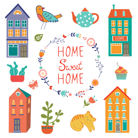 row of houses: Home sweet home colorful set . Vector illustration