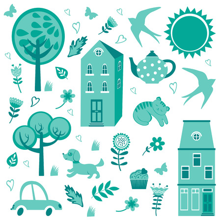 Home sweet home monochrome set. Vector illustration Vector