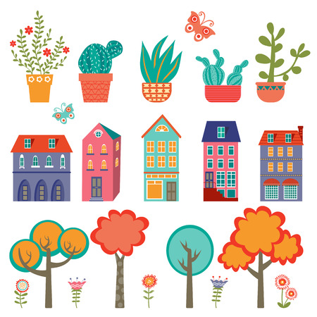 cute: Colorful cute city collection - plants, houses and trees. Vector illustration Illustration