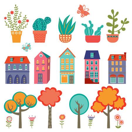 lindo: Colorida colecci�n linda ciudad - plantas, casas y �rboles. Ilustraci�n vectorial