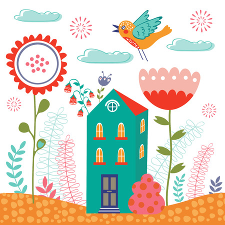 Sweet home colorful illustration with little house and flowers