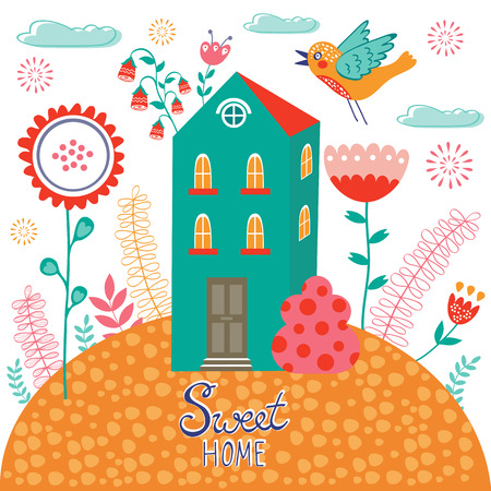 naive: Sweet home colorful illustration with little house and flowers