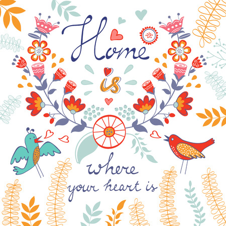 Home is where the heart is concept card. Vector illustration
