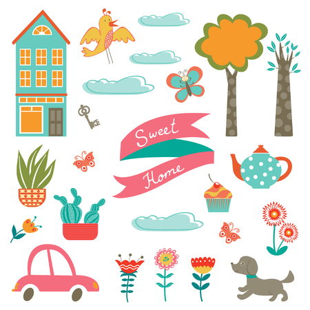Home sweet home colorful set. Vector illustration Vector
