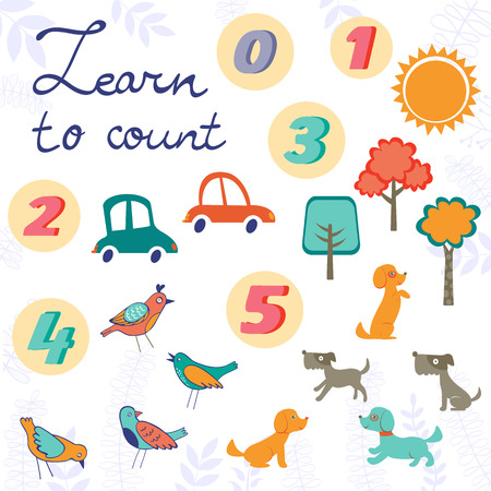 cute graphic: Set of cute graphic elements - trees, birds, dogs and cars. easy learn to count