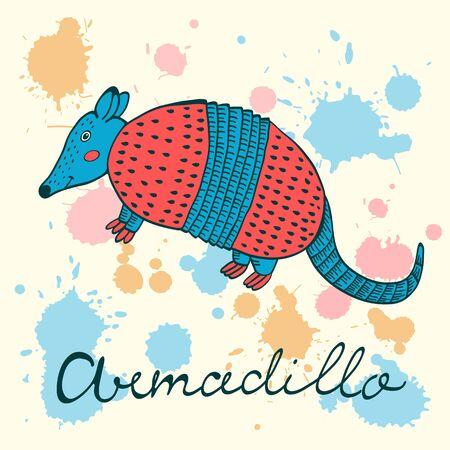 terrestrial mammal: Cute armadillo character colorful illustration in vector format Illustration