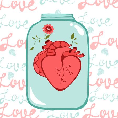 Concept love card with heart in jar. Perfect for Birthday cards, wedding or Valentines day invitations Vector