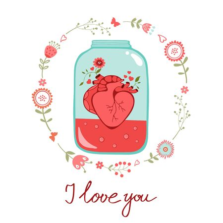 Concept love card with heart in jar and floral wreath. Perfect for Birthday cards, wedding or Valentines day invitations Vector