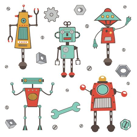 Cute colorful robots collection in vector format Vector