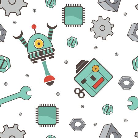 Seamless pattern with robots. Colorful vector illustration Vector