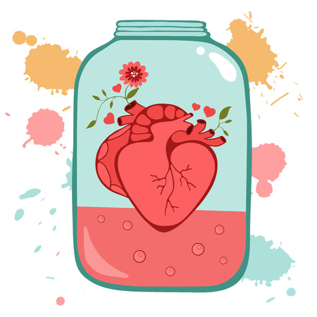 Concept Love Card With Heart In Jar Perfect For Birthday Cards