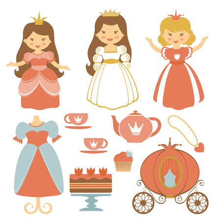 little girl dress: A cute collection of beautiful princesses and tea party elements