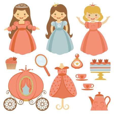 A cute collection of beautiful princesses and tea party elements Vector
