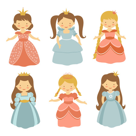 fairy tale princess: A cute collection of beautiful princesses. Vector illustration