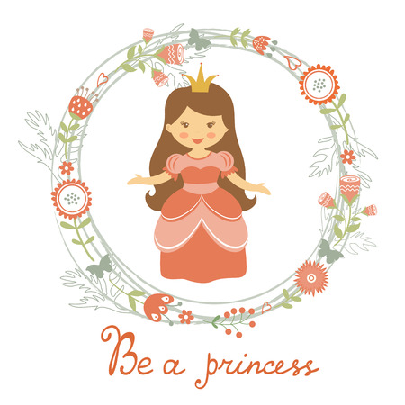 rich girl: Be a princess card with adorable little princess. vector illustration Illustration