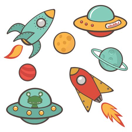 astronautics: Colorful outer space stickers collection in vector format