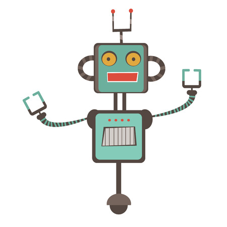 electrical part: Colorful robot character illustration in vector format Illustration