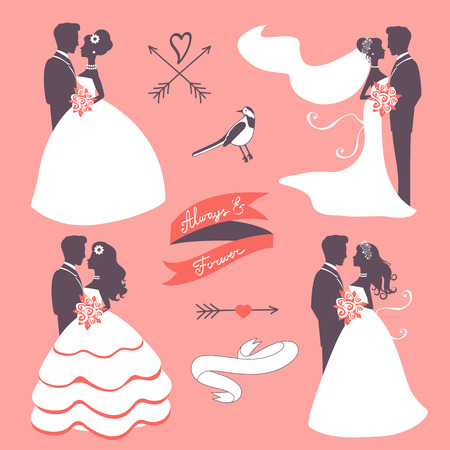 wedding gown: Set of elegant wedding couples in silhouette, ribbons and other graphic elements Illustration