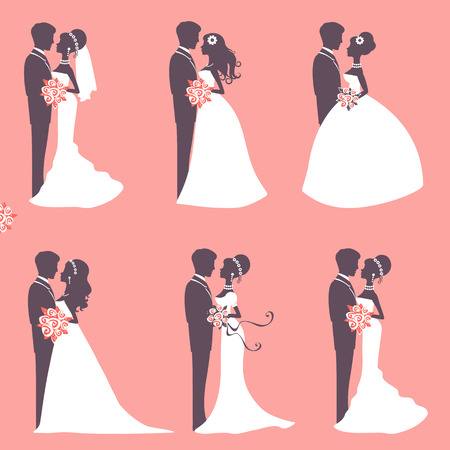 fidelity: Illustration of Six wedding couples in silhouette in vector format Illustration