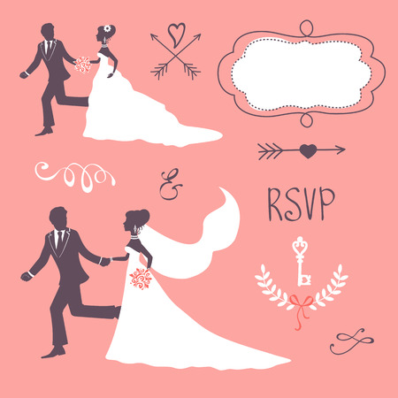 bride groom silhouette: Elegant wedding couple in silhouette. Wedding card in vector format Illustration