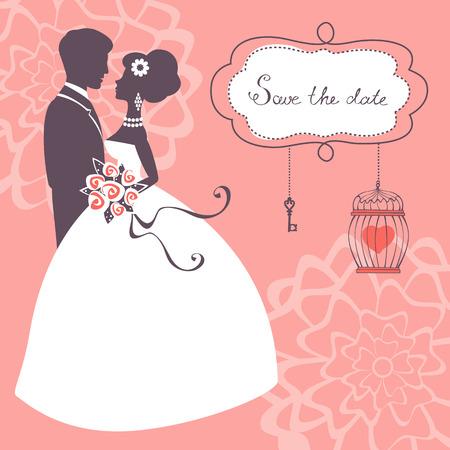 エレガントな結婚式のカップルのシルエット。ベクター形式でのウェディング カード