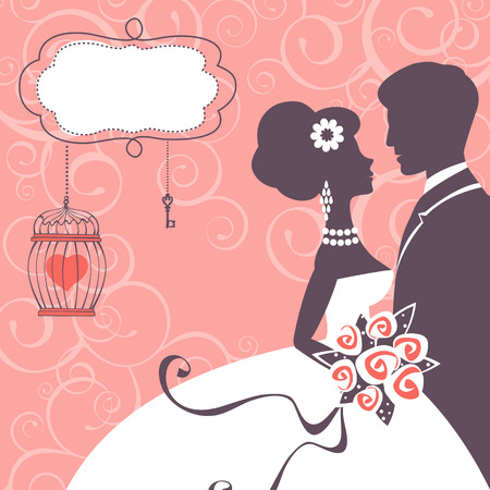 wedding couple: Elegant wedding couple in silhouette. Wedding card in vector format Stock Illustratie
