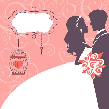 Elegante Hochzeitspaar in der Silhouette. Hochzeitskarte im Vektorformat Standard-Bild - 38307763