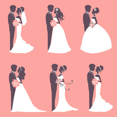 Illustration of Six wedding couples in silhouette in vector format Ilustrace