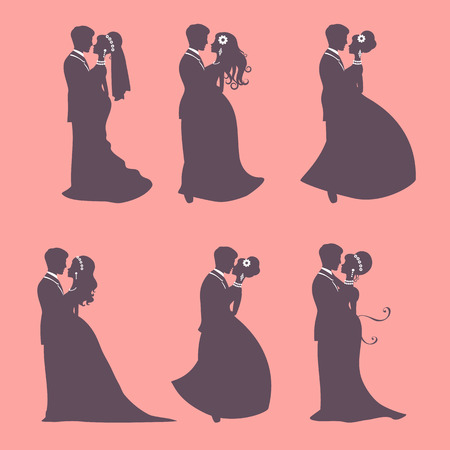 silhouette of female characters: Illustration of Six wedding couples in silhouette in vector format Illustration