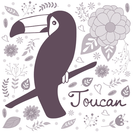 Colorful exotic toucan bird illustration in vector format Vector