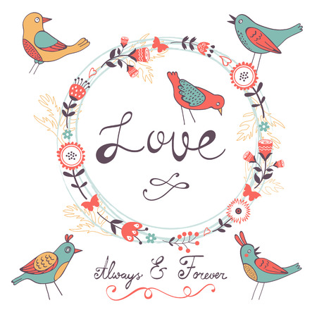 love birds: Elegant love card with birds and floral wreath in vector format