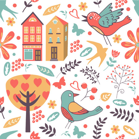 Colorful seamless pattern with birds, flowers and houses Vector