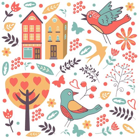 Colorful composition with birds, flowers and houses in vector format Vector